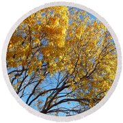 Golden Boughs Round Beach Towel