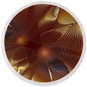 Golden Bronze Swirl Round Beach Towel