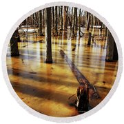 Golden Brown Frozen Pond Round Beach Towel