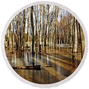 Golden Brown Pond Round Beach Towel
