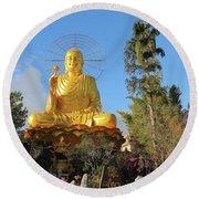 Golden Buddha In Vietnam Dalat Round Beach Towel