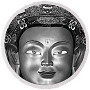 Golden Buddha Monochrome Round Beach Towel