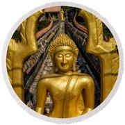Golden Buddhas Round Beach Towel
