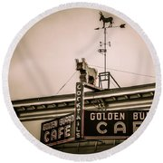 Golden Burro Cafe 2 Round Beach Towel