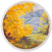 Golden California Sycamores Round Beach Towel