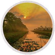 Golden Canal Morning Round Beach Towel