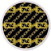 Golden Chains With Black Background Seamless Texture Round Beach Towel