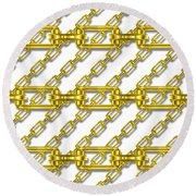 Golden Chains With White Background Seamless Texture Round Beach Towel