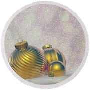 Golden Christmas Balls - 3d Render Round Beach Towel