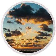 Golden Cloud Sunrise Delray Beach Florida Round Beach Towel