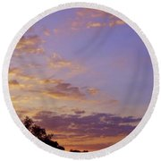 Golden Clouds At Sunset Round Beach Towel