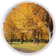 Golden Colors In Autumn Bellavista Park Oregon. Round Beach Towel