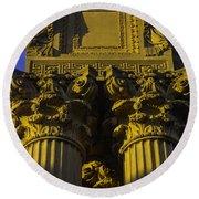 Golden Columns Palace Of Fine Arts Round Beach Towel