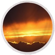 Golden Crested Clouds Round Beach Towel