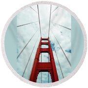 Golden Crossing - Golden Gate Bridge San Francisco Round Beach Towel