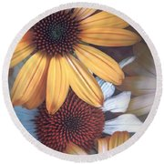 Golden Daisies Round Beach Towel