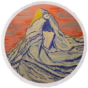 Golden Dawn On Matterhorn Round Beach Towel