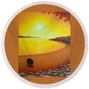 Golden Dawn Round Beach Towel