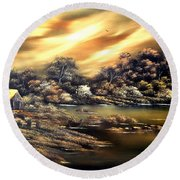 Golden Daze.sold Round Beach Towel by Cynthia Adams