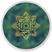 Golden Decorative Star Of Lakshmi - Ashthalakshmi  Round Beach Towel