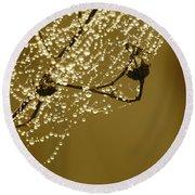 Golden Dewdrops Round Beach Towel