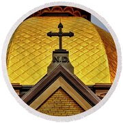 Golden Dome Notre Dame Round Beach Towel