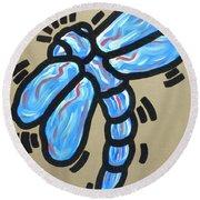 Golden Dragonfly Round Beach Towel