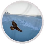 Golden Eagle Fly By Round Beach Towel