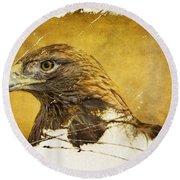 Golden Eagle Grunge Portrait Round Beach Towel