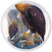 Golden Eagle Antique Print John Gould Birds Of Great Britain Round Beach Towel