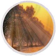 Golden Early Morning Sun Rays On The Farm Chesterhurst L B Round Beach Towel