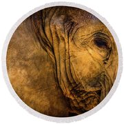 Golden Elephant Round Beach Towel