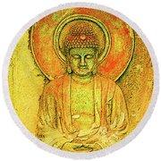 Golden Enlightenment Round Beach Towel
