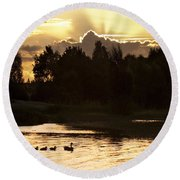 Golden Evening Round Beach Towel