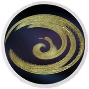 Golden Exotic Bird Abstract Round Beach Towel