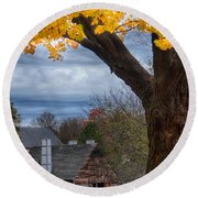 Golden Fall Colors Over Iron Works Round Beach Towel