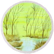 Golden Fall Day  Round Beach Towel