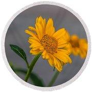 Golden Flower II Round Beach Towel