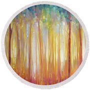 Golden Forest Hidden Unicorn - Large Original Oil Painting By Gill Bustamante Round Beach Towel