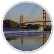 Golden Gate And Waves Round Beach Towel