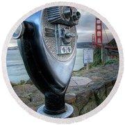 Golden Gate Binoculars Round Beach Towel