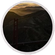 Golden Gate Bridge And Marin County At Sunset Round Beach Towel