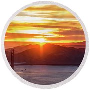 Golden Gate Bridge And San Francisco Bay At Sunset Round Beach Towel