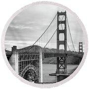 Golden Gate Bridge Black And White Round Beach Towel