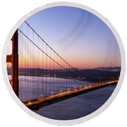 Golden Gate Bridge During Sunrise Round Beach Towel