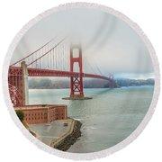 Golden Gate Bridge Fort Point Round Beach Towel