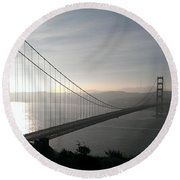 Golden Gate Bridge From Marin County Round Beach Towel