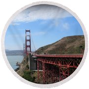Golden Gate Bridge From The Scenic Lookout Point Round Beach Towel
