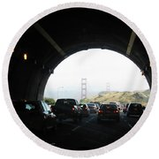 Golden Gate Bridge From Tunnel Round Beach Towel