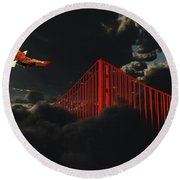 Golden Gate Bridge In Heavy Fog Clouds With Eagle Round Beach Towel